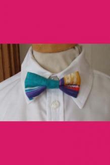 Blue multicolour bow tie